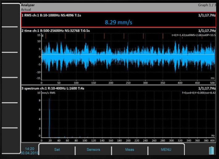 Widok analizy drgań w darmowym oprogramowaniu Virtual Unit
