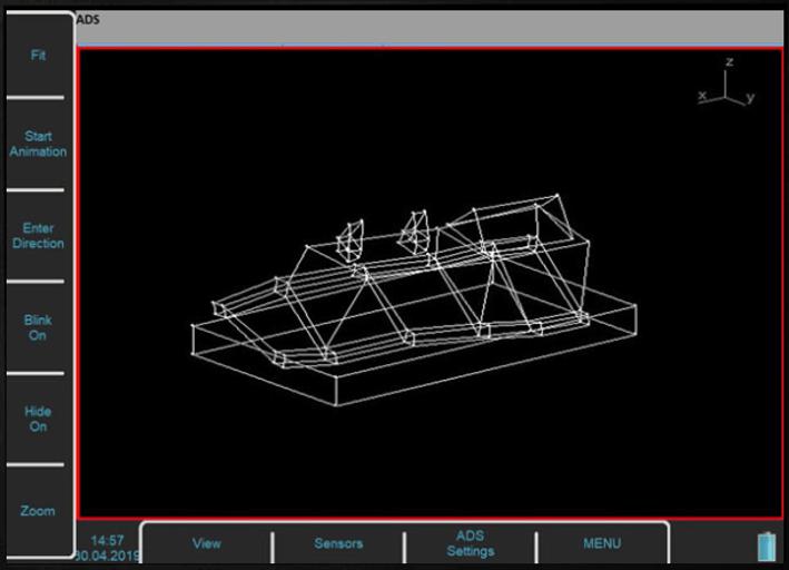 Widok animacji odkształceń w oprogramowaniu Virtual Unit