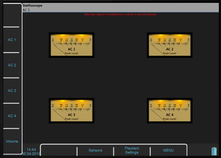 Widok pomiarów stetoskopem w oprogramowaniu Virtual Unit