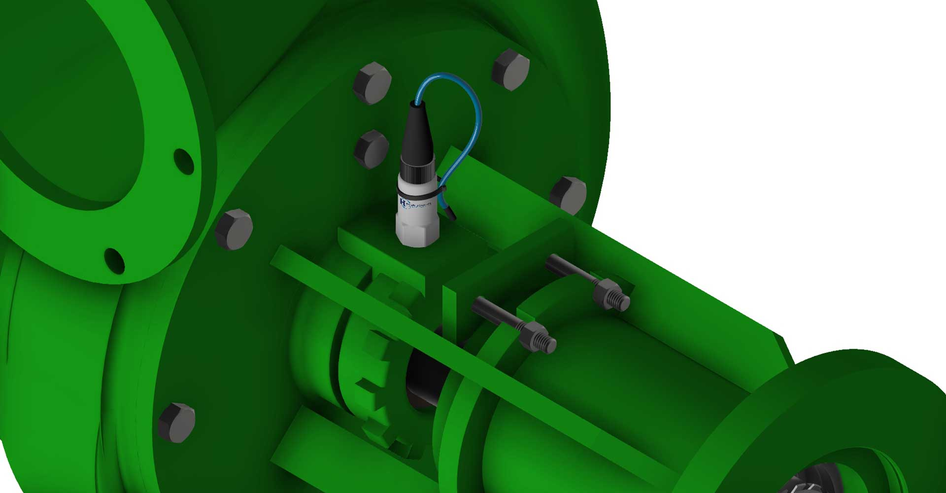 grafika 3D widok czujnika drgań zamontowanego na pompie
